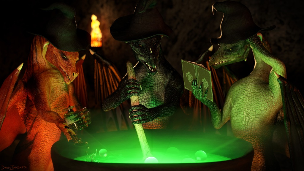 A render of three dragon witches stood around a cauldron with glowing green contents. The central witch is stirring the cauldron and looking at the viewer. The left witch is holding a jar of newts' eyes and adding some of them to the cauldron. The right witch is referring to a book (presumably the recipe) with a confused look on her face.