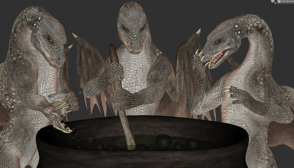 A screenshot of the first pose idea. It shows three dragons, the central one stirring a cauldron, the left one adding newts' eyes to it, and the right one looking shocked and surprised at what was being added.