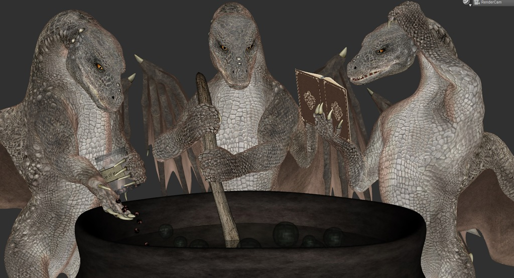 A screenshot of the second pose idea. Like the first, it shows three dragons: the central one stirring a cauldron and the left one adding newts' eyes to it, but this time, the right one is looking at a book, presumably a recipe book, and looking confused.
